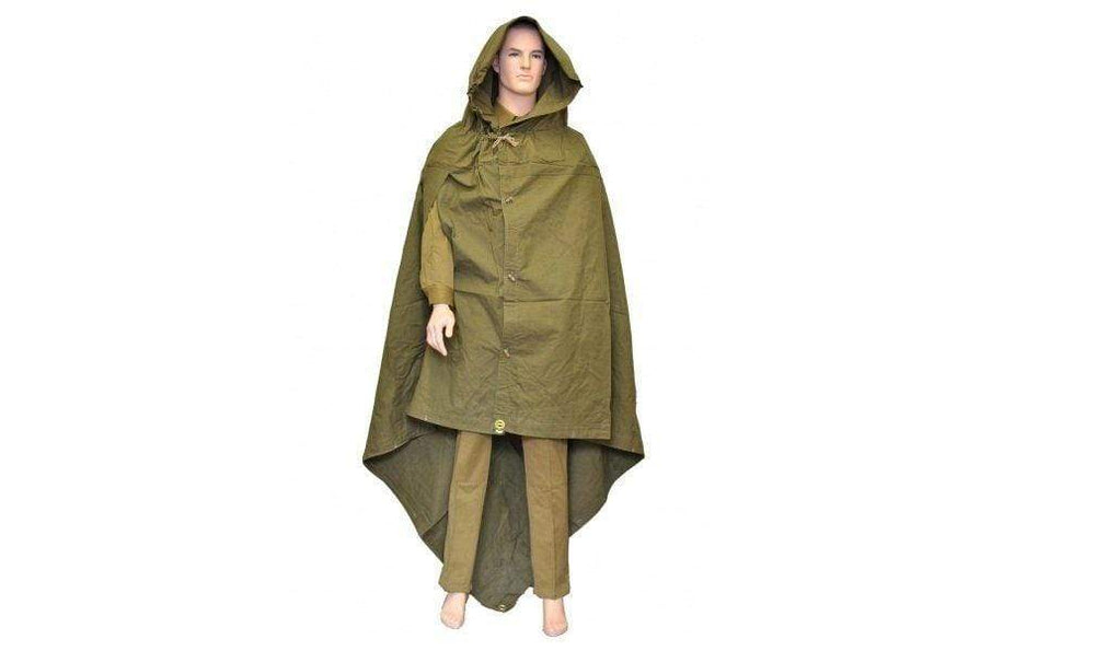 Original Soviet Russian Army WWII Type Soldier Field Canvas Cloak Tent Raincoat Poncho