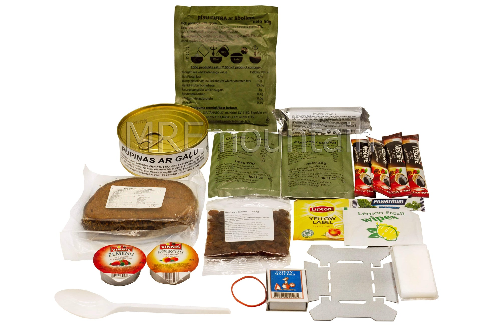 Full Box of 9 Letton MRE Army Ration alimentaire repas Pack rations RCIR nous Lettonie