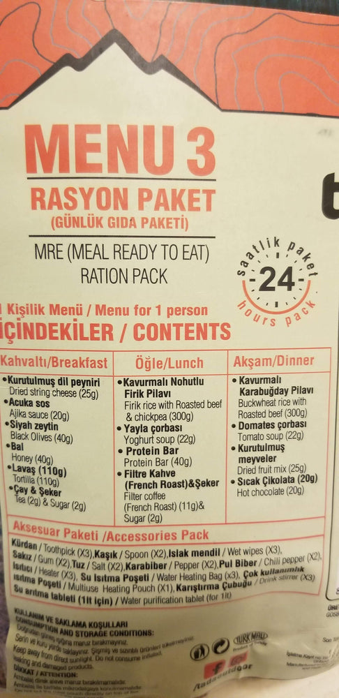 Turkish Ta!Da! Outdoors 24 hour MRE