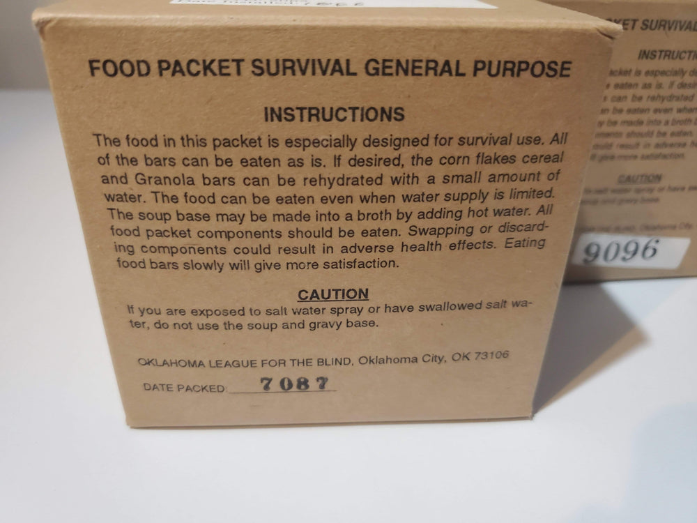 Vintage USA Food Packet Survival General Purpose