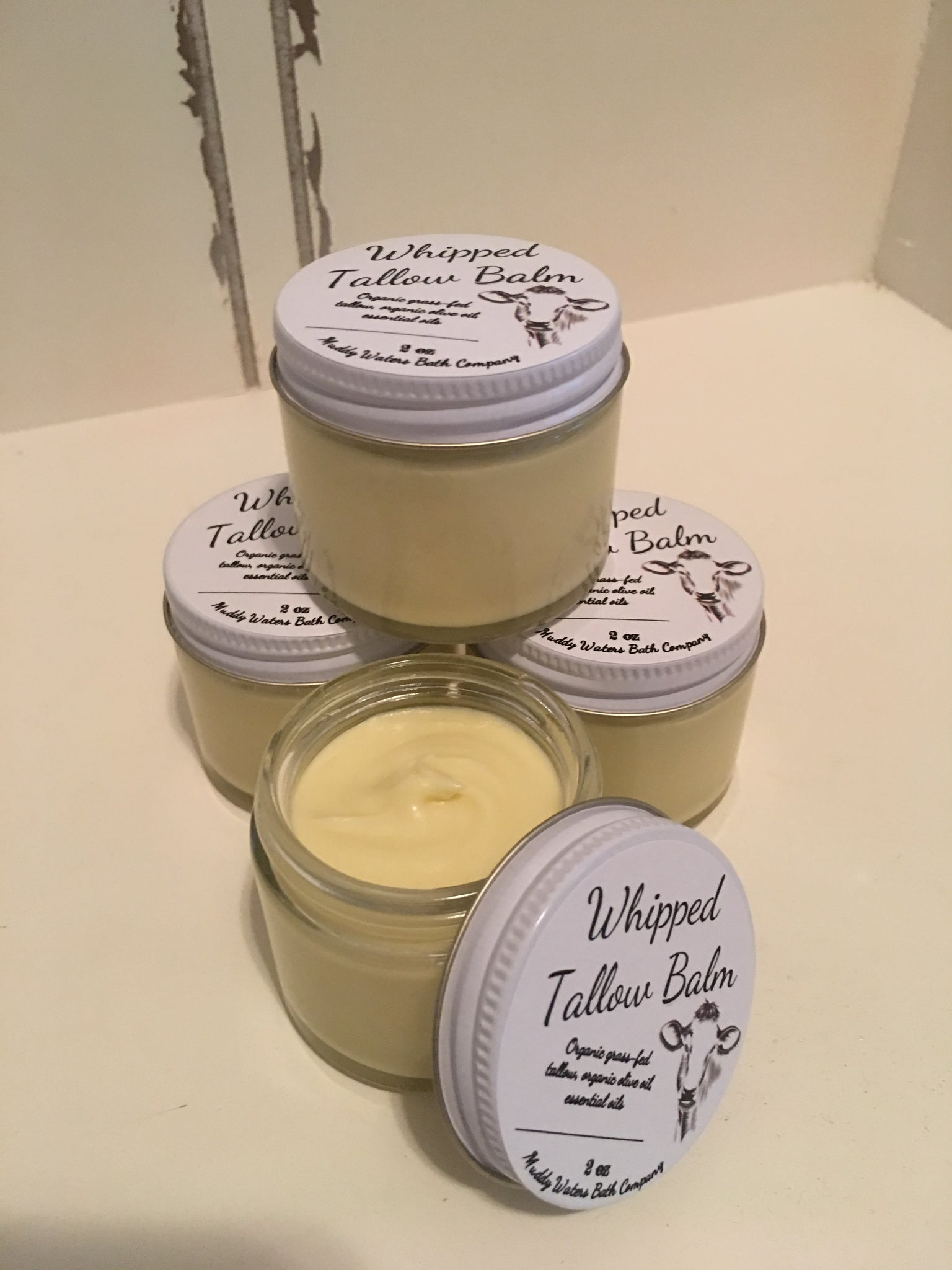 Whipped Tallow Balm (2 oz glass) - Natural Hand & Body Cream