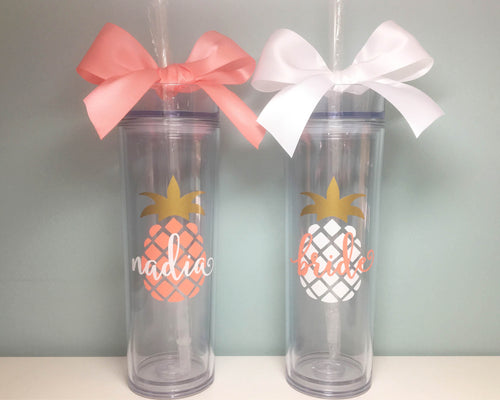 bachelorette bridal party pineapple tumbler cup