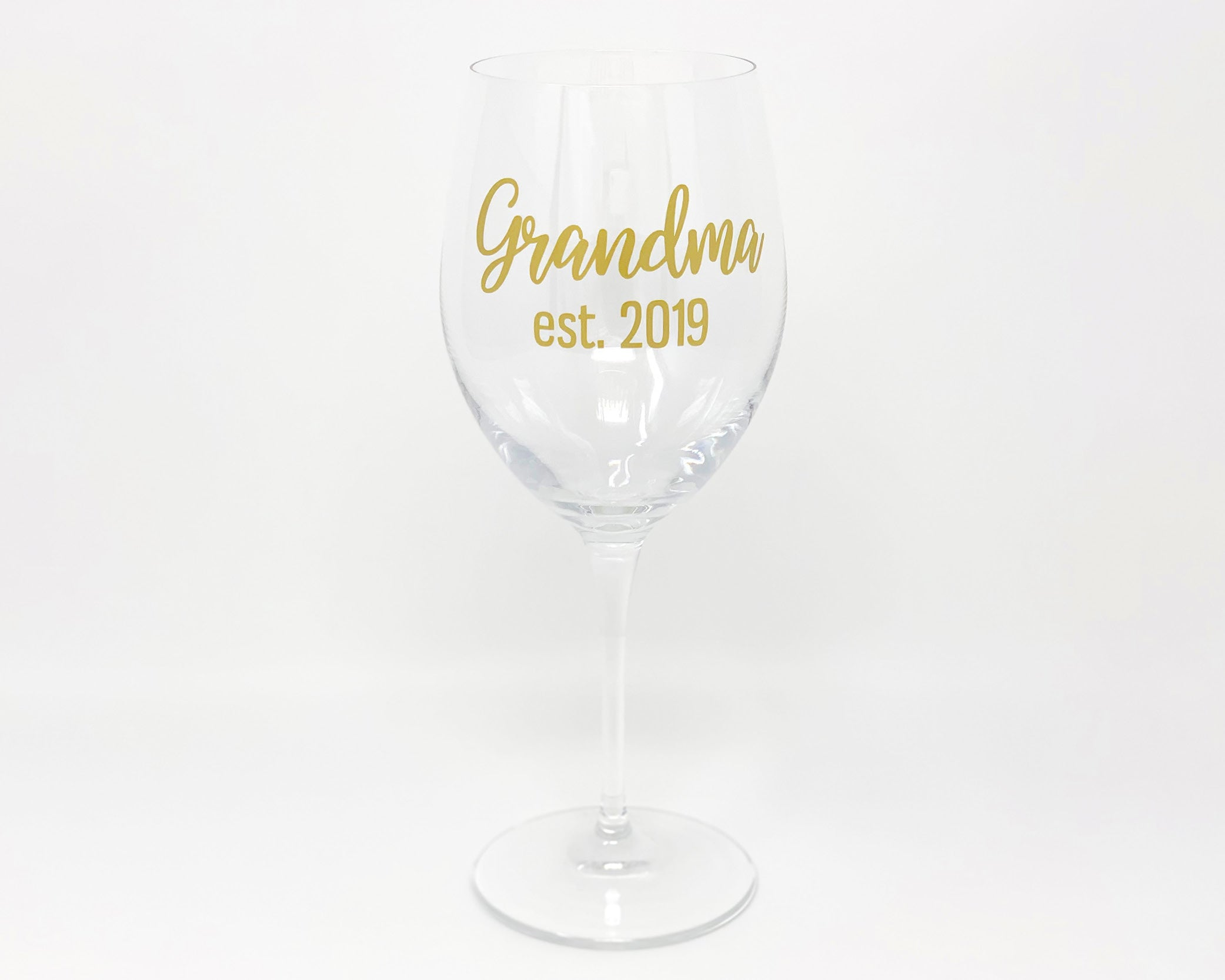 Grandma/'s Yule Fuel New Grandmother Gift Wine Glasses Funny Soon to be Gift for Grandma Christmas Gift 2020 Stemless Wine Glass