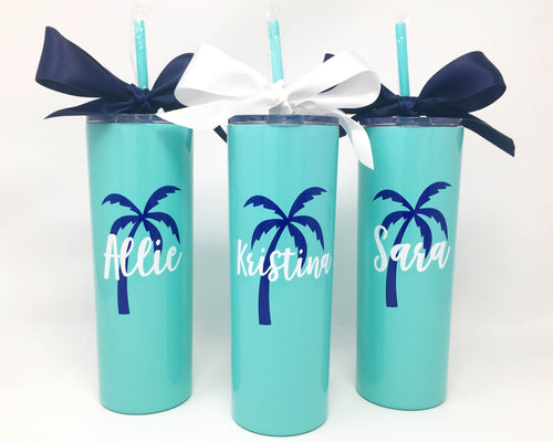 custom palm tree tumblers stainless powder coated cup