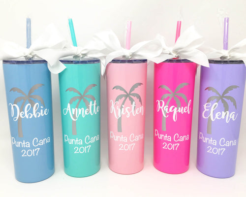 customized name palm tree stainless steel cup