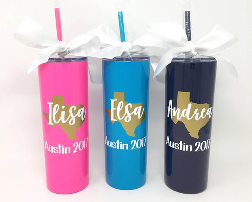 personalized austin texas girls weekend stainless tumbler