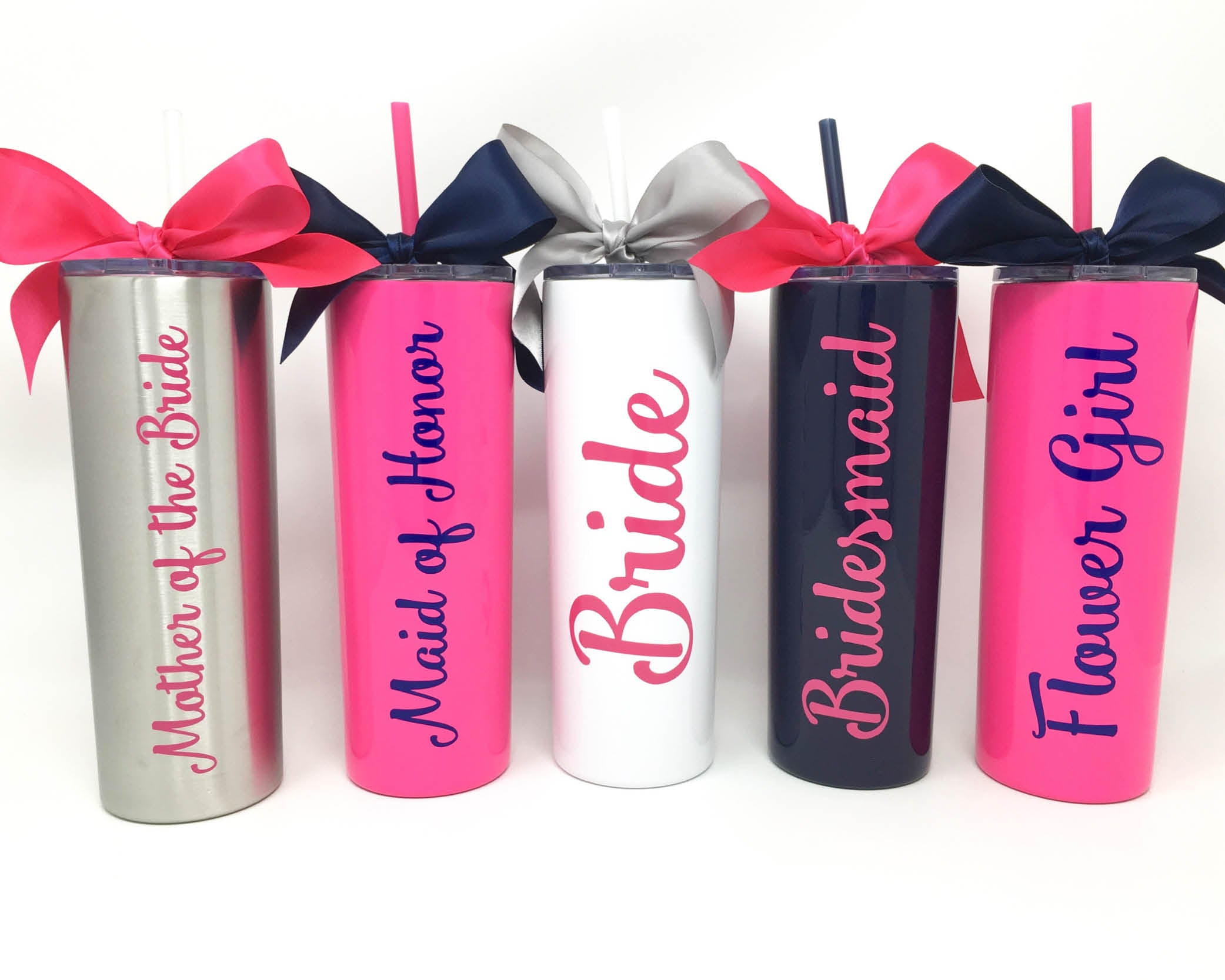 personalized bridal party stainless steel skinny cups