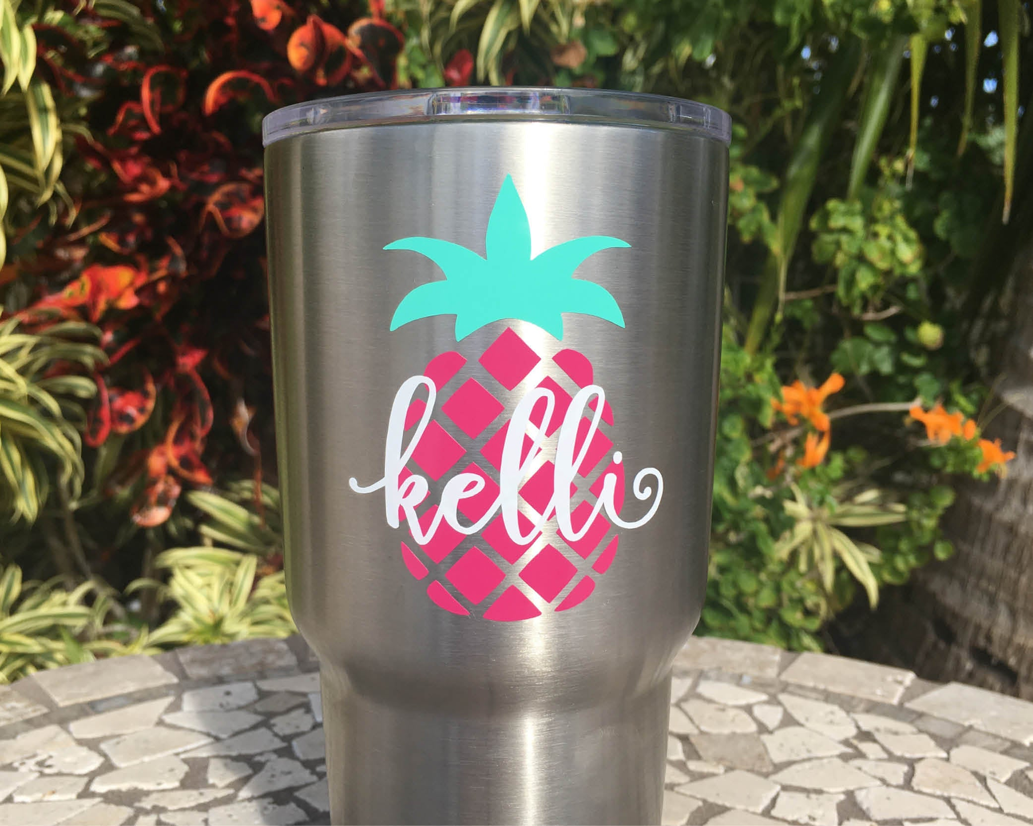 custom pineapple name yeti vinyl decal 20oz 30oz rambler