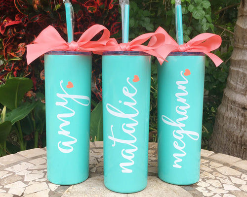 personalized skinny stainless mint cup name heart gift