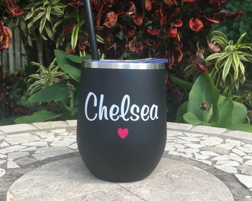 Personalized Name with Heart Stainless Wine Cup