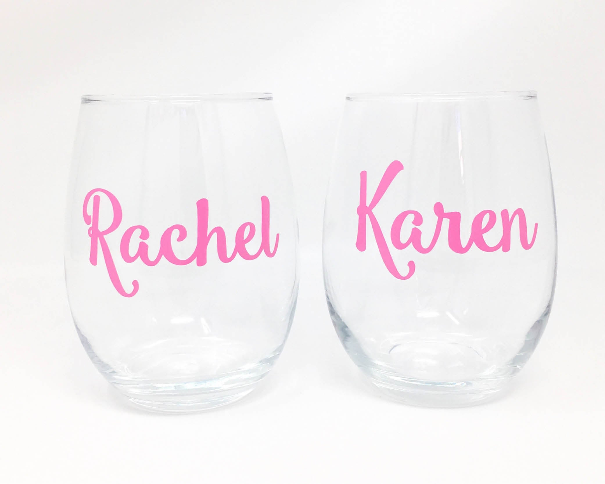 personalized name stemless wine glass