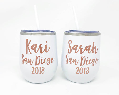 Personalized Stainless Wine Cup with Location