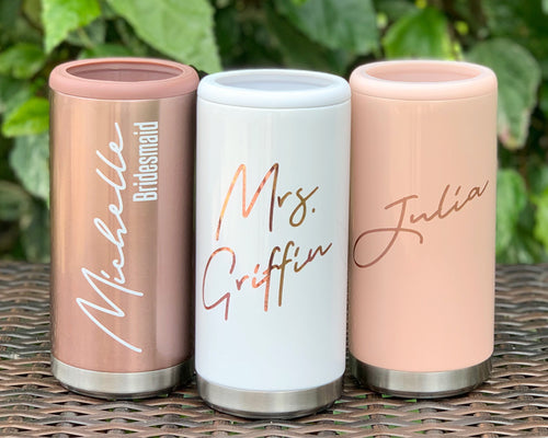 Personalized Bridal Party Wedding Slim Can Cooler Stainless Steel 12oz