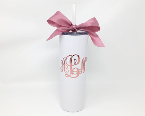 white rose gold monogrammed stainless steel cup