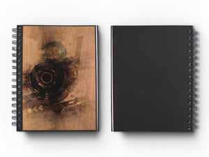 "Journal: Woodworks Hardcover Executive Journal for Art, Design, Business & Personal Discovery. Studio-Made. Abstract Art on Real Metal Cover Finish (Classic 5.5""x8.5"" Natural Cherry)"
