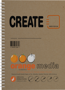 Orange Media CREATE : Premium Paper Multi-Media Project Book for Pencil, Ink, Marker, Charcoal and Watercolor Paints. Great for Art, Design and Education.