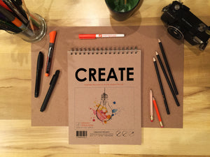 "TS CREATE (8.5"" x 11""): Premium Multi-Media Paper Book for Pencil, Ink, Marker, Charcoal and Watercolor Paints. Great for Art, Design and Education."