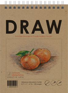 "TS DRAW (8.5"" x 11""): Premium Paper Drawing Books for Pencil, Ink, Marker, Charcoal and Watercolor Paints. Great for Art, Design and Education."