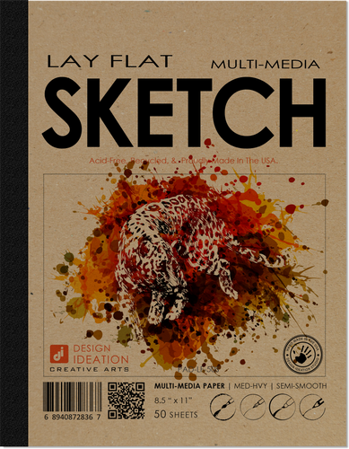 Design Ideation LAY FLAT multi-media : Creative Project Paper. Removable Sheet Book