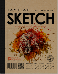 LAY FLAT : Premium Paper Multi-Media SKETCH Book for Pencil, Ink, Marker, Charcoal and Watercolor Paints. Great for Art, Design and Education.