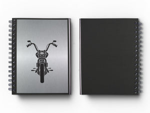 "Journal: Metalworks Hardcover Vintage Motorcycleq Journal for Art, Design, Business & Personal Discovery. Studio-Made. Abstract Art on Real Metal Cover Finish (Classic 5.5""x8.5"" Natural Aluminum)"