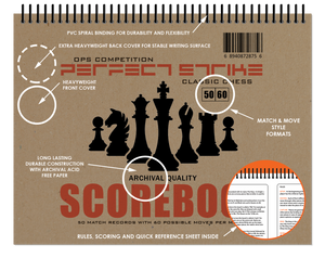 Perfect Strike Chess SCOREBOOK with Rules and Scoring Instructions. Heavy Duty. Archival Quality. Great for Practice and Competition.