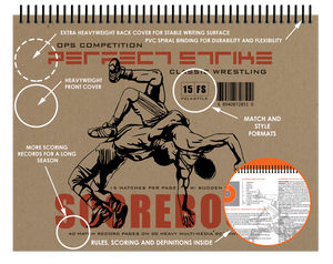 Perfect Strike Wrestling SCOREBOOK with Rules and Scoring Instructions : Heavy Duty. Great for Meets and tournaments.