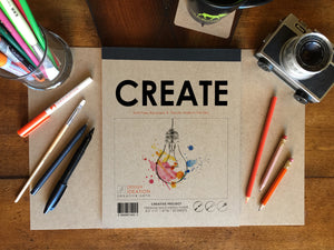 CREATE Pad: Premium Paper Multi-Media Pad for Pencil, Ink, Marker, Charcoal and Watercolor Paints. Great for Art, Design and Education.