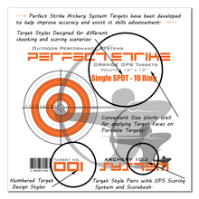 "Perfect Strike ARCHERY System Targets. ORANGE OPS No. 001. Single Spot Targets. Heavy paper practice targets. Great for improving accuracy. 12"" x 12"". (24 Targets.)"