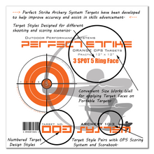 "Perfect Strike ARCHERY System Targets. ORANGE OPS No. 003. Three Spot Targets. Heavy paper practice targets. Great for improving accuracy. 12"" x 12"". (24 Targets.)"