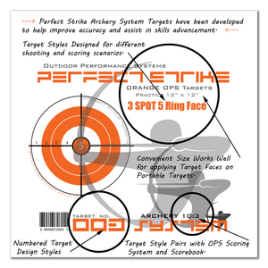 "Perfect Strike ARCHERY System Targets. ORANGE OPS No. 003. Three Spot Targets. 12"" x 12"". (12 Targets.)"