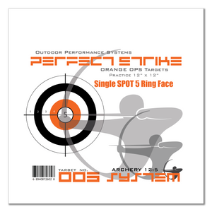 "Perfect Strike ARCHERY System Targets. ORANGE OPS No. 005. Single Spot Targets. 12"" x 12"". (12 Targets.)"
