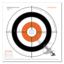 "Perfect Strike ARCHERY System Targets. ORANGE OPS No. 005. Single Spot Targets. Heavy paper practice targets. Great for improving accuracy. 12"" x 12"". (24 Targets.)"