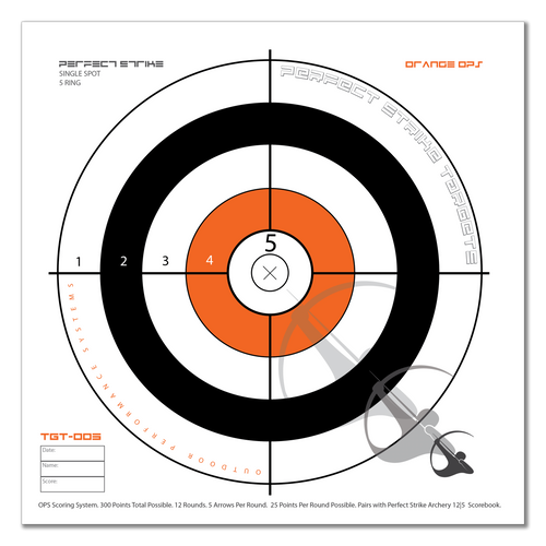 Perfect Strike ARCHERY System Targets. ORANGE OPS No. 005. Single Spot Targets. Heavy paper practice targets. Great for improving accuracy. 12