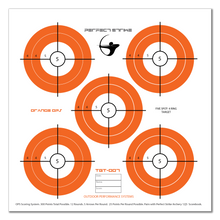 "Perfect Strike ARCHERY System Targets. ORANGE OPS No. 007. Five Spot Targets. Heavy paper practice targets. Great for improving accuracy. 12"" x 12"". (24 Targets.)"