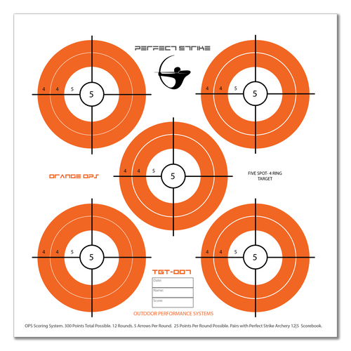 Perfect Strike ARCHERY System Targets. ORANGE OPS No. 007. Five Spot Targets. Heavy paper practice targets. Great for improving accuracy. 12