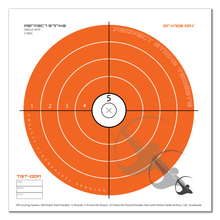 "Perfect Strike ARCHERY System Targets. ORANGE OPS No. 009. Single Spot Targets. Heavy paper practice targets. Great for improving accuracy. 12"" x 12"". (24 Targets.)"