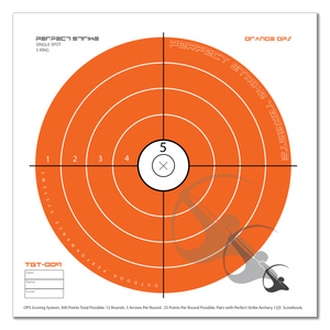 "Perfect Strike ARCHERY System Targets. ORANGE OPS No. 009. Single Spot Targets. 12"" x 12"". (12 Targets.)"