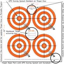 "Perfect Strike ARCHERY System Targets. ORANGE OPS No. 011. Four Spot Targets. Heavy paper practice targets. Great for improving accuracy. 12"" x 12"". (24 Targets.)"