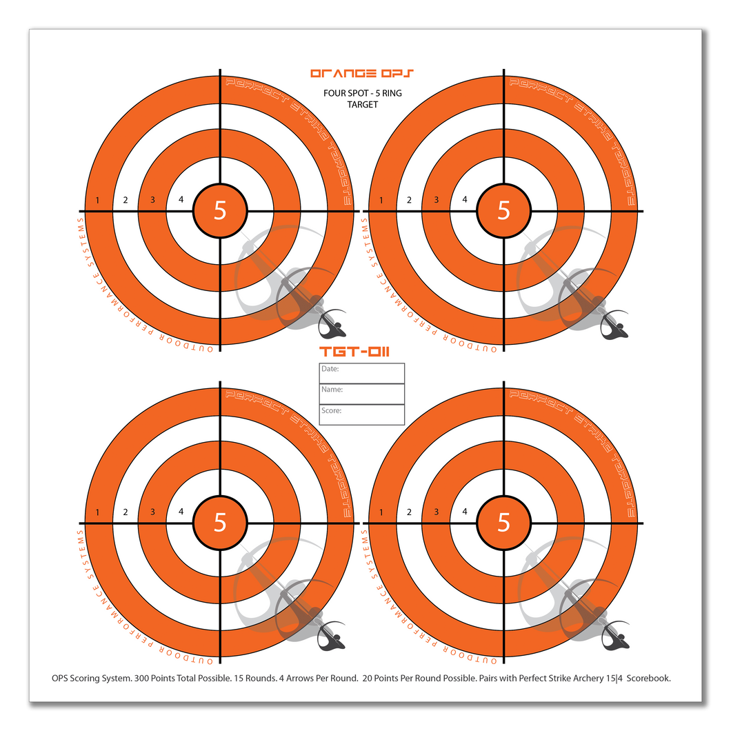 Perfect Strike ARCHERY System Targets. ORANGE OPS No. 011. Four Spot Targets. Heavy paper practice targets. Great for improving accuracy. 12