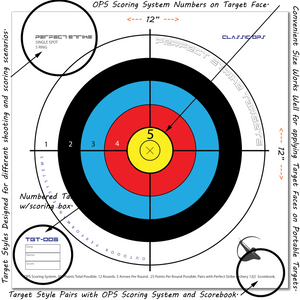 "Perfect Strike ARCHERY System Targets. CLASSIC OPS No. 005. Single Spot Targets. Heavy paper practice targets. Great for improving accuracy. 12"" x 12"". (24 Targets.)"