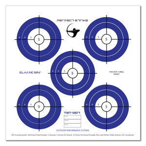 "Perfect Strike ARCHERY System Targets. CLASSIC OPS No. 007. Five Spot Targets. Heavy paper practice targets. Great for improving accuracy. 12"" x 12"". (24 Targets.)"