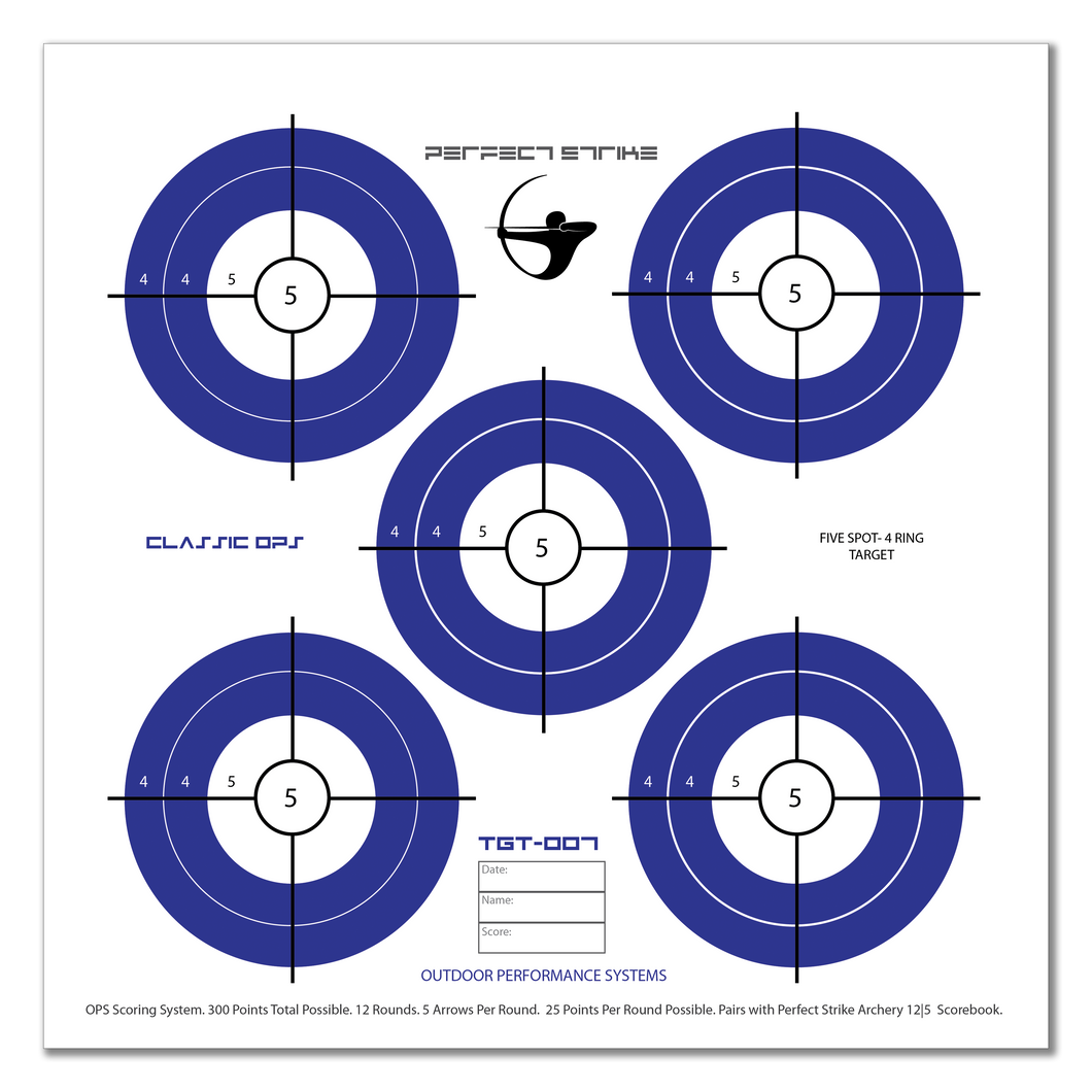 Perfect Strike ARCHERY System Targets. CLASSIC OPS No. 007. Five Spot Targets. Heavy paper practice targets. Great for improving accuracy. 12