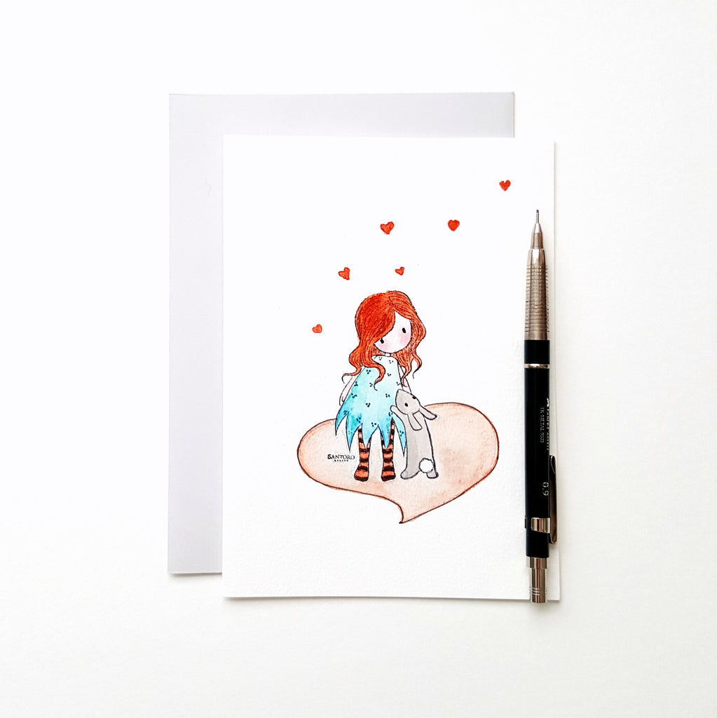Gorjuss Santoro Watercolor Hand Painted 5x7 Folded Card With