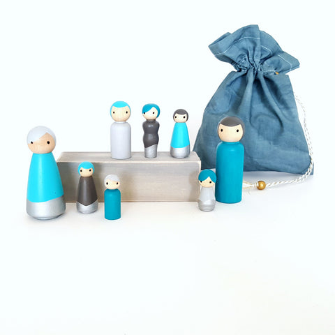 Peg doll family set To Go with color matching carring / storage bag - blue lagoon, gray, silver - pretend play  - wood dolls - ready to ship