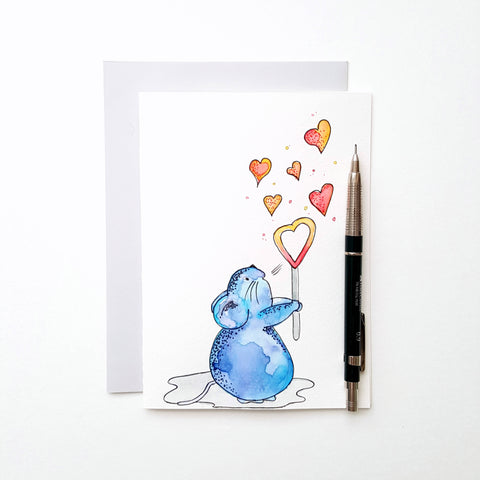 Mouse watercolor hand painted 5x7 folded card with envelope. Handmade card. Love card. Greeting card. All occasions card. Cute card.