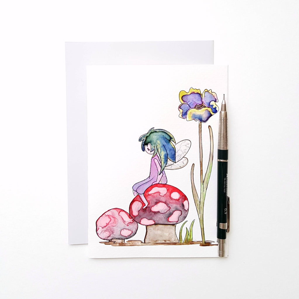 Fairy Watercolor Hand Painted 5x7 Folded Card With Envelope