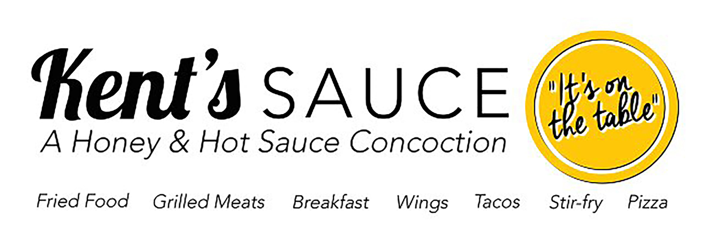 logo banner that reads Kent's Sauce a honey and hot sauce concoction for fried food grilled meats breakfast foods wings tacos stirfry and pizza