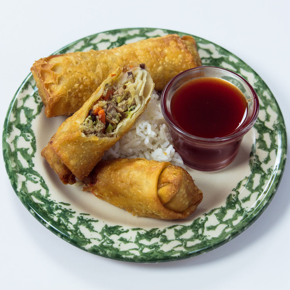 pork and veggie eggrolls with kents sauce