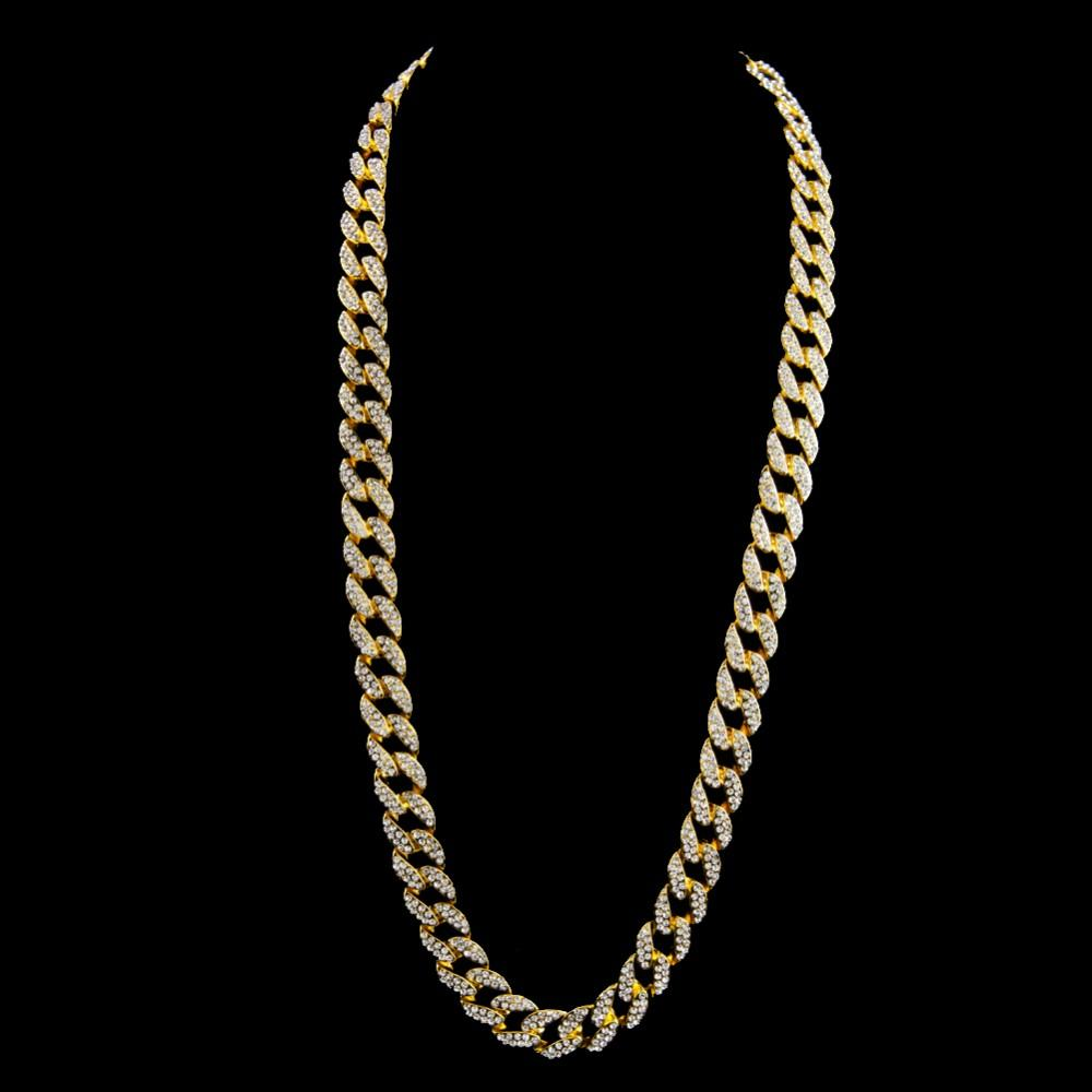 "MIAMI CUBAN GOLD FINISH 15MM 30"" ICED OUT CZ CHAIN"